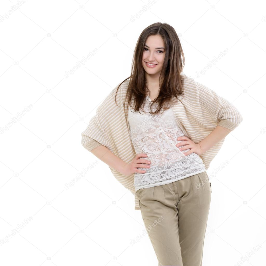 teen girl looking at camera