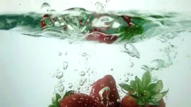 Fresh strawberries splash