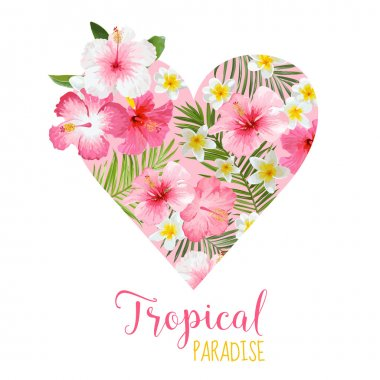 Floral Heart Graphic Design - Tropical Flowers Theme - for t-shirt