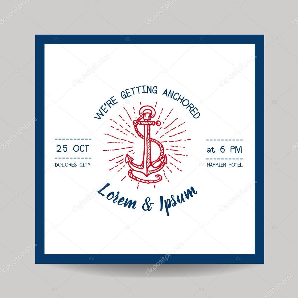 Hochzeit Einladungskarte   Save Date   Marine Anker Theme   In Vektor U2014  Vektor Von Woodhouse