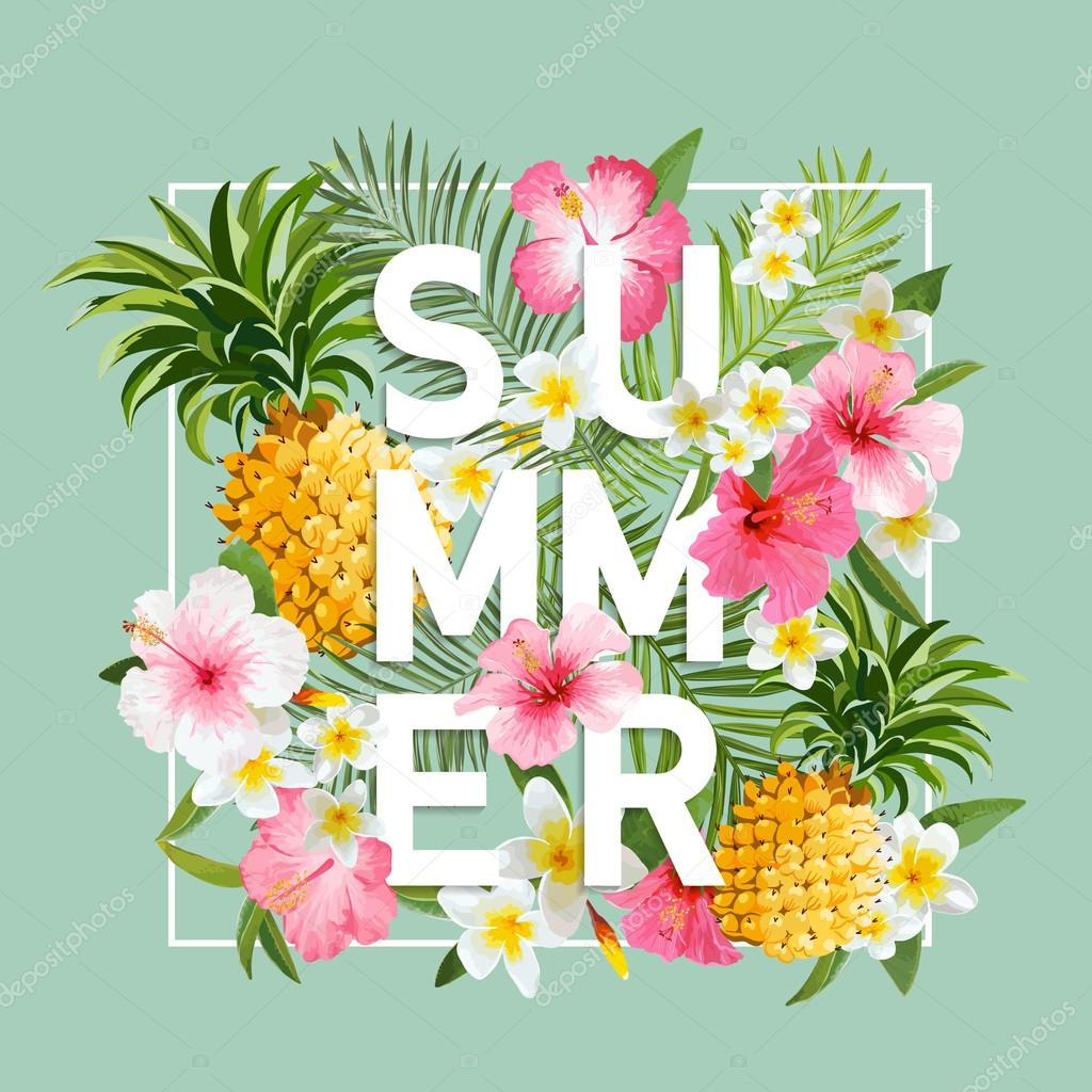 Tropical Flowers and Leaves Background. Summer Design. Vector. T-shirt Fashion Graphic