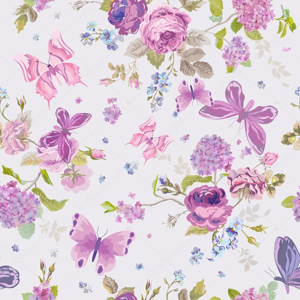 Spring Flowers Background with Butterflies- Seamless Floral Shabby Pattern
