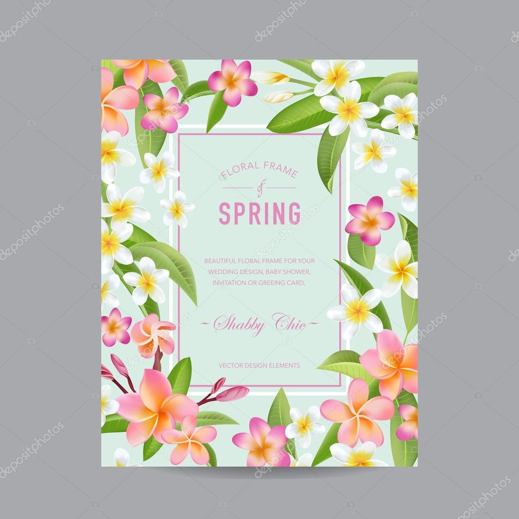 Schön Tropische Blumen Bunt Frame   Für Einladung, Hochzeit, Baby Dusche Karte    In Vektor U2014 Vektor Von Woodhouse