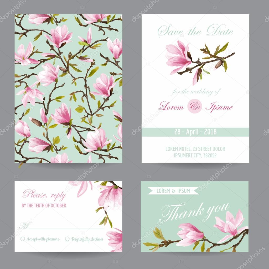 Wedding invitation congratulation card set save the date magnolia wedding invitation congratulation card set save the date magnolia flowers vector postcards stopboris Choice Image
