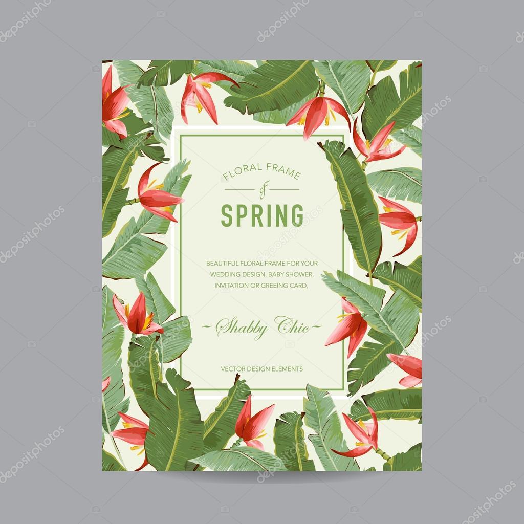 Tropische Blumen Bunt Frame   Für Einladung, Hochzeit, Baby Dusche Karte    In Vektor U2014 Vektor Von Woodhouse