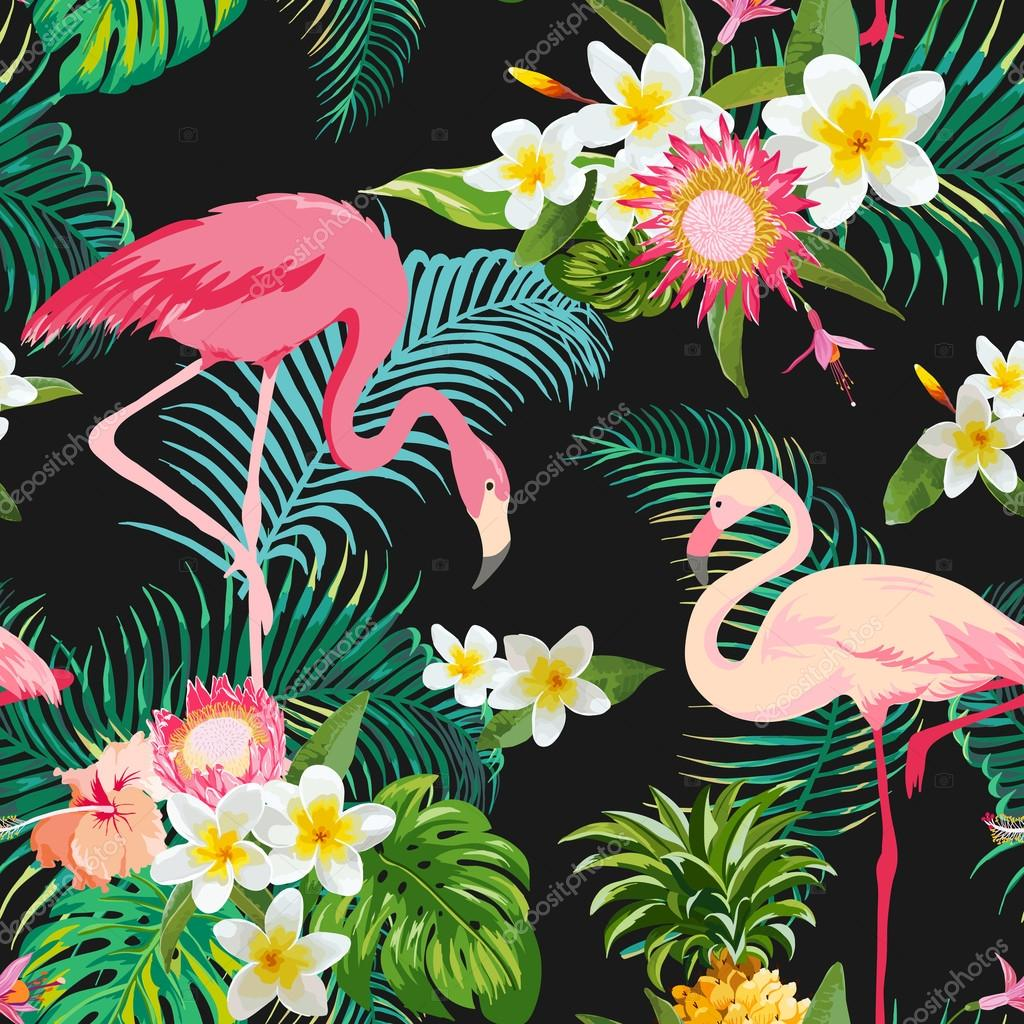 Vintage Style Tropical Bird And Flowers Background: Tropical Flowers And Birds Background. Vintage Seamless