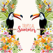 Photo Tropical Flowers. Toucan Bird. Tropical Background. Tropical Vector. Floral Background. Summer Background. T-shirt Design.