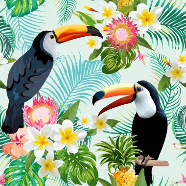 Tropical Flowers and Birds Background. Vintage Seamless Pattern. Vector Background. Toucan Pattern.