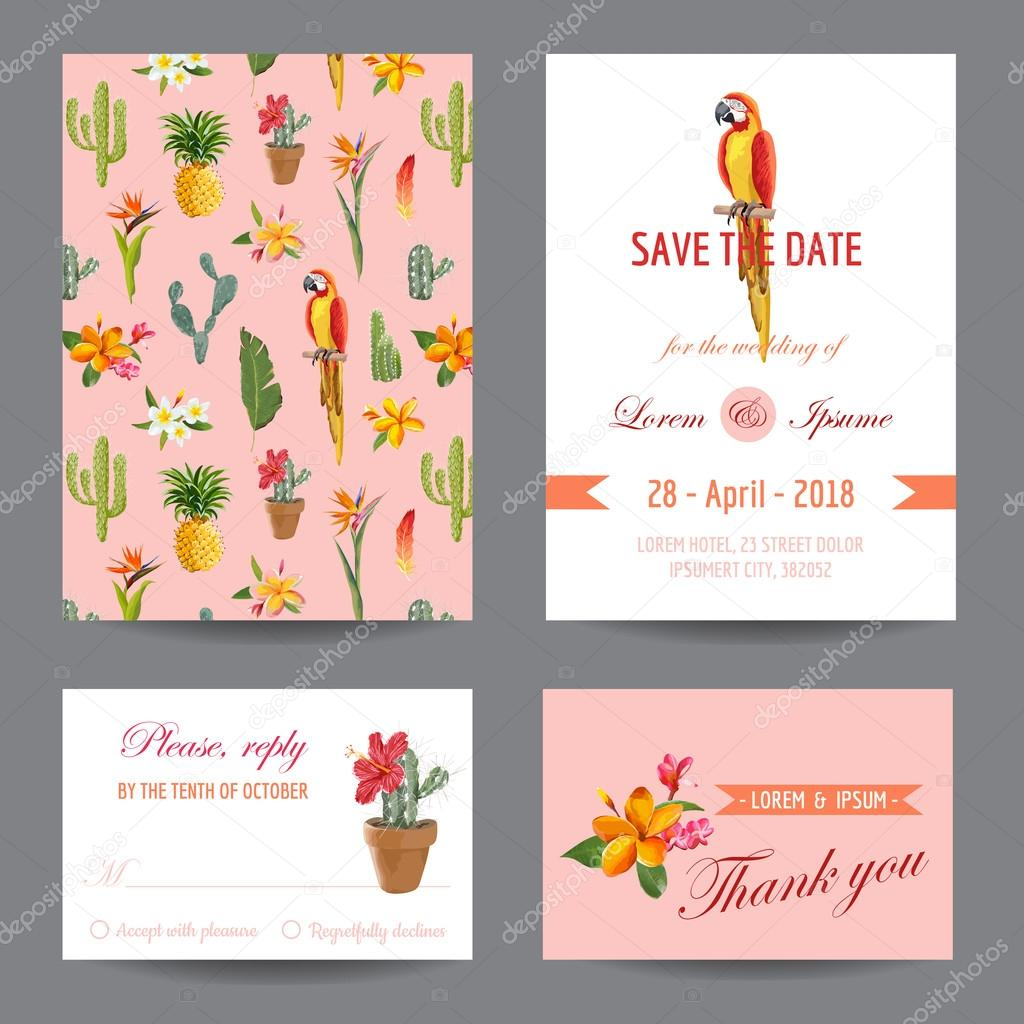 Invitation card save the date card wedding card congratulation invitation card save the date card wedding card congratulation card set parrot stopboris Image collections