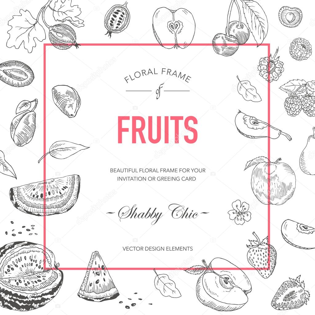 Fruit frame invitation card wedding card baby shower card vector invitation card wedding card baby shower card vector floral card stopboris Images