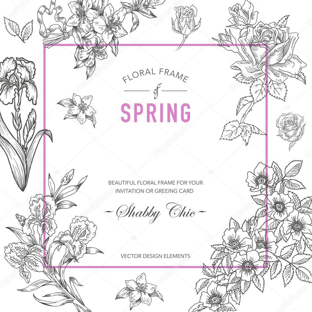 Floral frame invitation card wedding card baby shower card invitation card wedding card baby shower card vector floral card stopboris Gallery