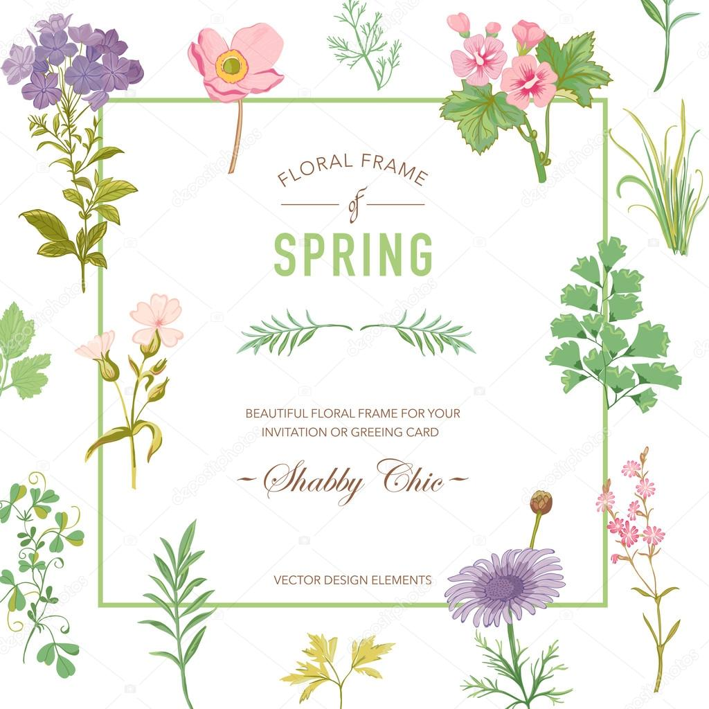 Floral frame invitation card wedding card baby shower card invitation card wedding card baby shower card vector floral card stopboris Images