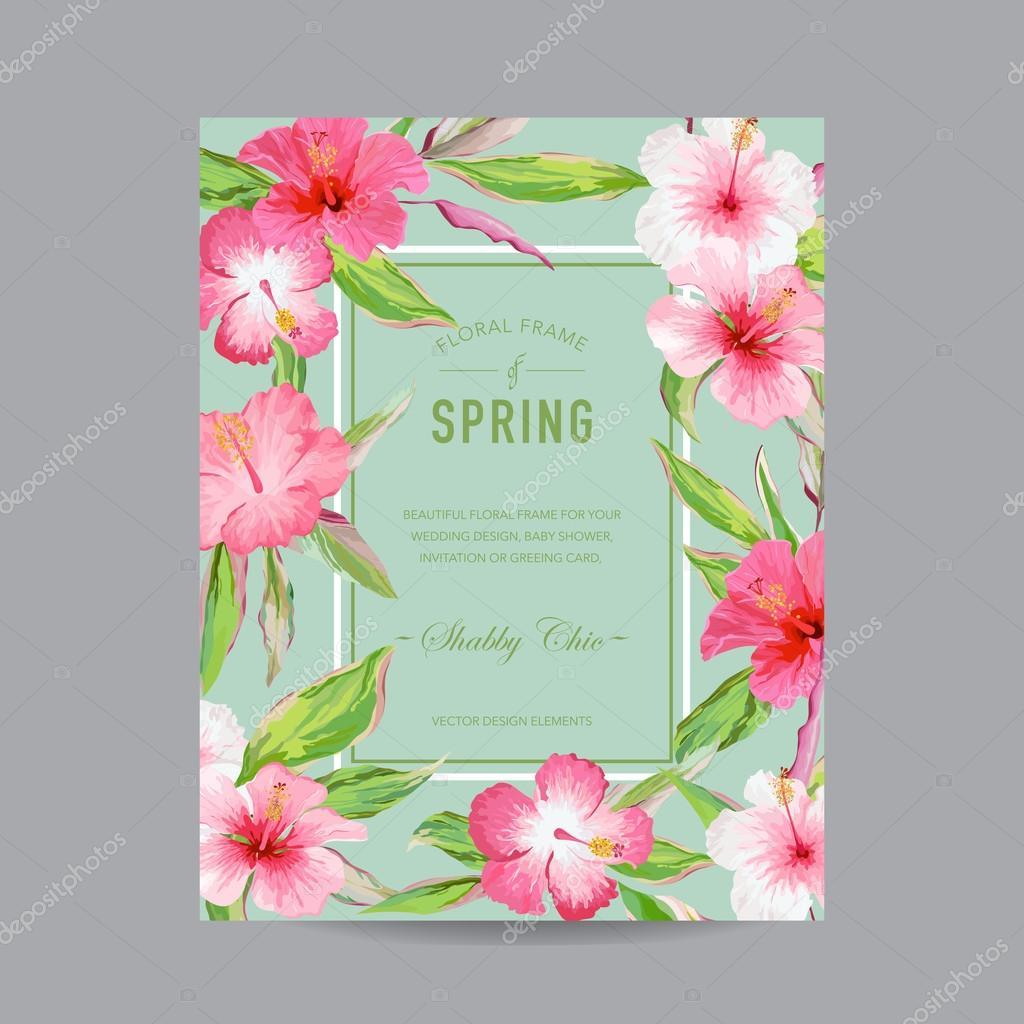 Perfekt Tropische Blumen Bunt Frame   Für Einladung, Hochzeit, Baby Dusche Karte    In Vektor U2014 Vektor Von Woodhouse