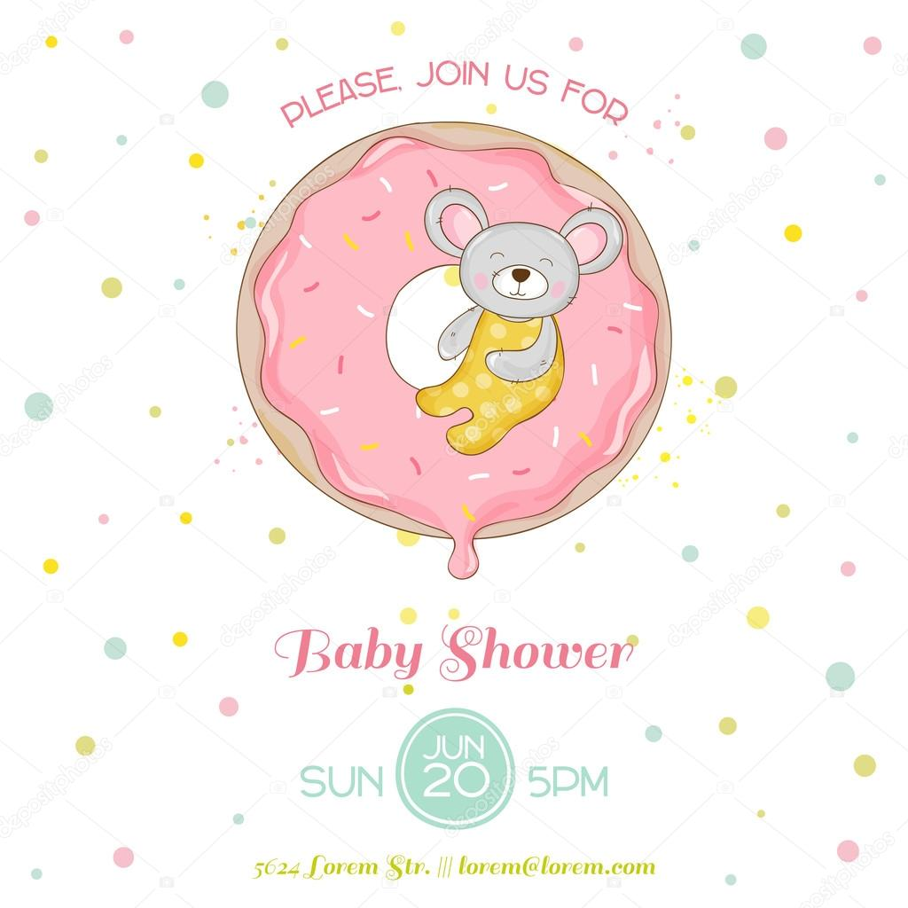 baby shower or arrival card baby mouse girl in vector ストック