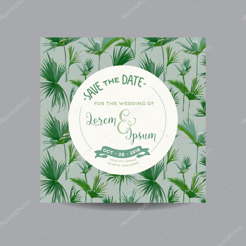 Save the date card tropical palm leaves wedding invitation card save the date card tropical palm leaves wedding invitation card vector vetores stopboris Image collections