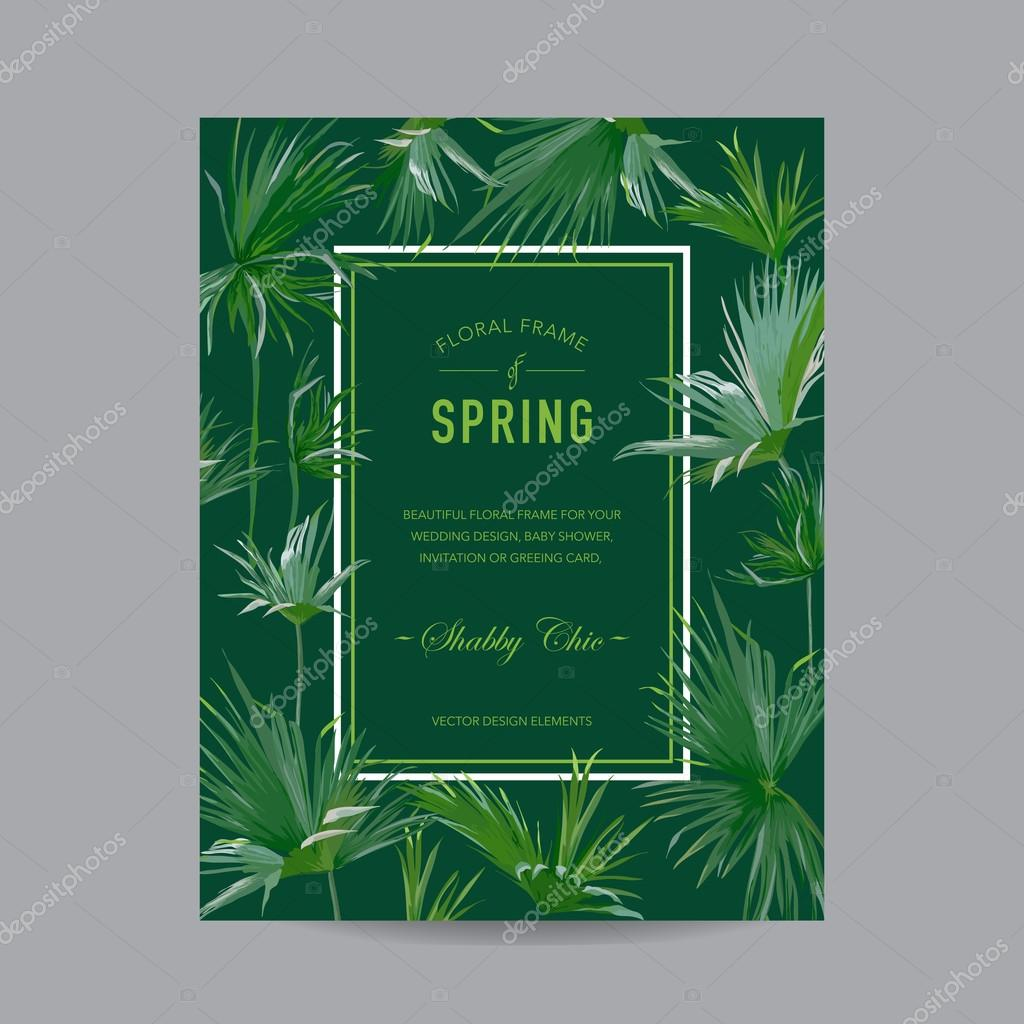 Tropical Palms Colorful Frame - for Invitation, Wedding, Baby Shower Card - in vector