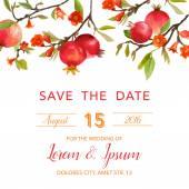 Fotografie Svatební Pozvánka - granátová jablka a květů pozadím - uložení the Date - ve vektoru