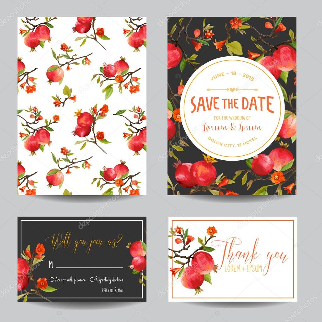 Save the date card tropical pomegranates flowers and leaves save the date card tropical pomegranates flowers and leaves wedding invitation card rsvp vector vetor por woodhouse stopboris Image collections