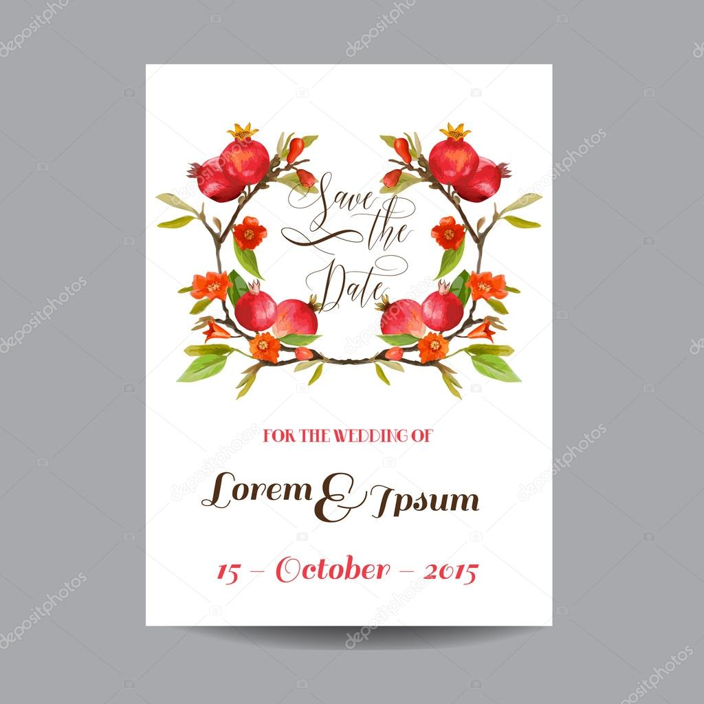 save the date wedding card tropical flowers and pomegranates