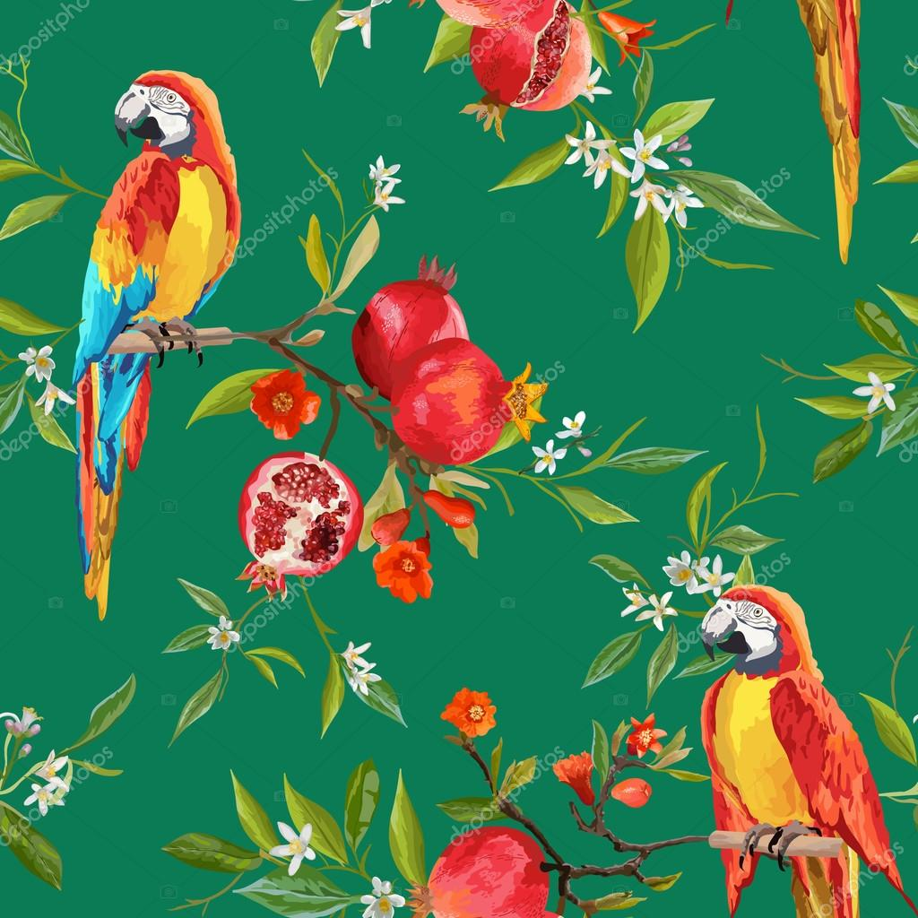 Vintage Style Tropical Bird And Flowers Background: Tropical Flowers, Pomegranates And Parrot Birds Background