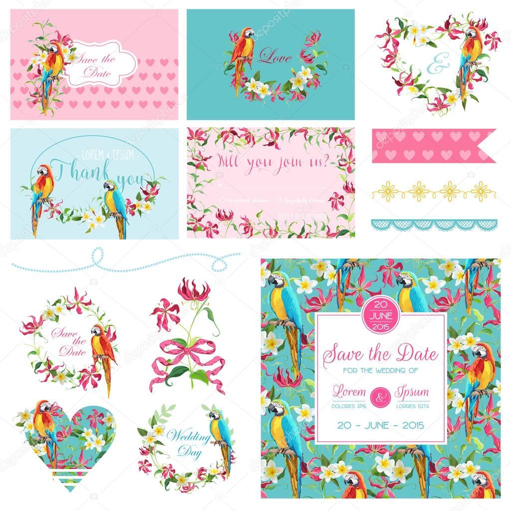 Scrapbook Design Elements Wedding Tropical Flowers And Parrot Bird
