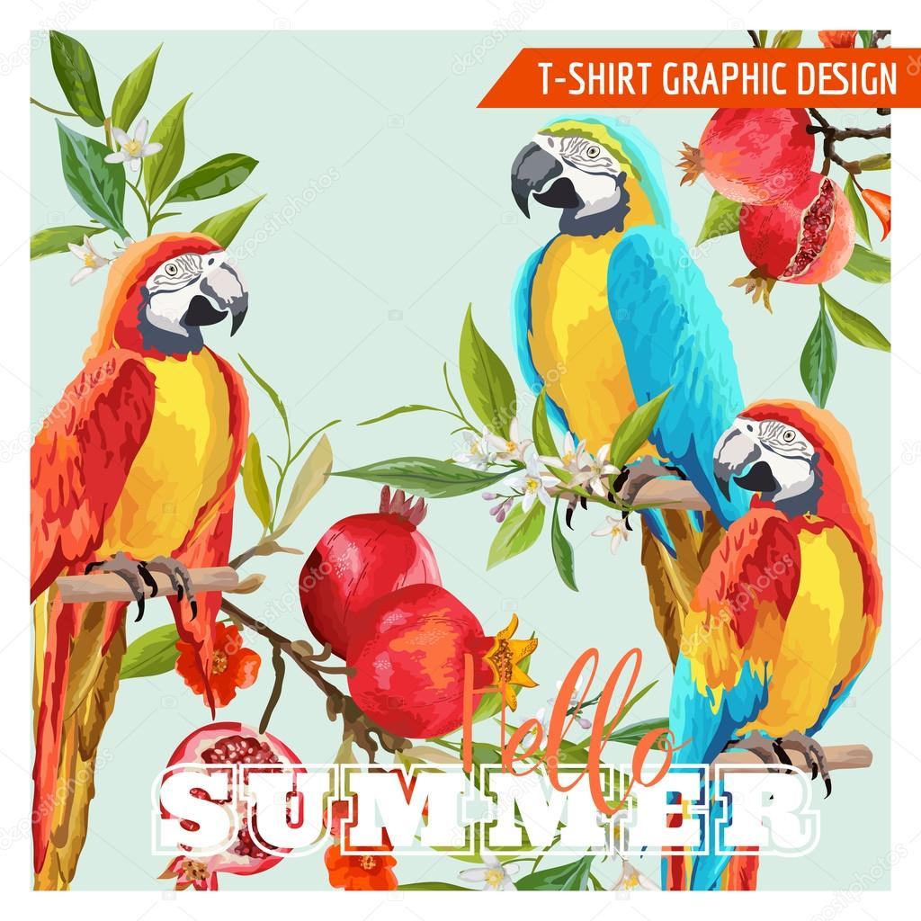 Tropical Graphic Design. Parrot Birds, Pomegranates and Tropical Flowers. T-shirt Fashion Prints. Vector Background.