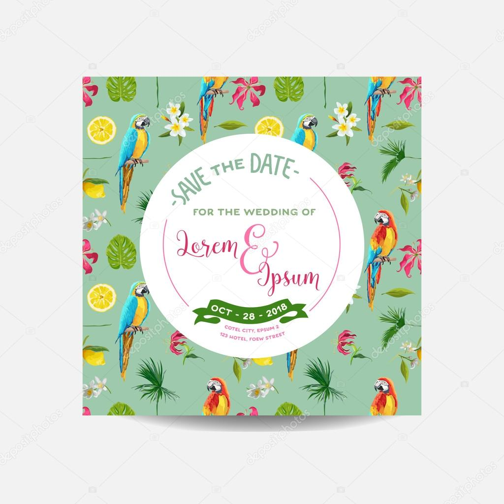 Save the Date Card. Tropical Flowers and Parrot Birds Background ...