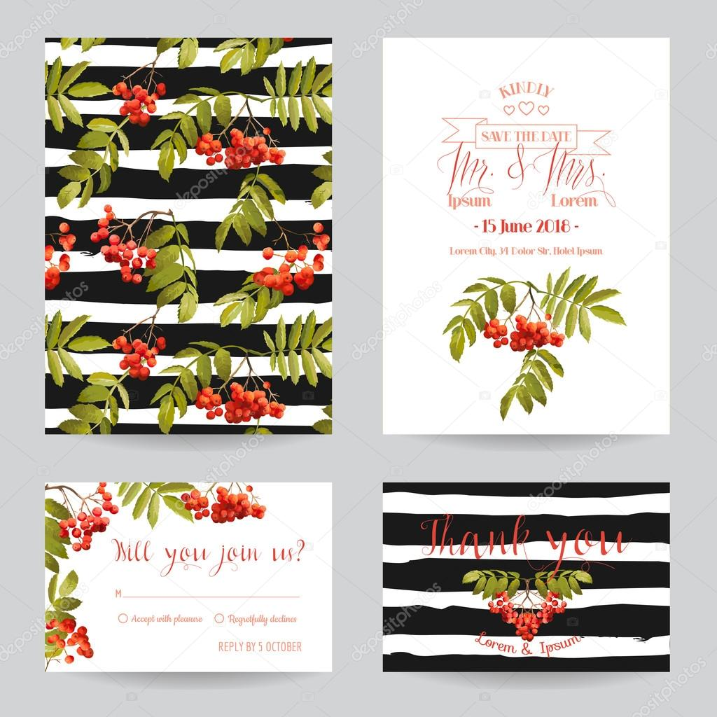 Save the date wedding invitation or congratulation card set ash save the date wedding invitation or congratulation card set ash berry autumn floral theme in vector vetor por woodhouse stopboris Images