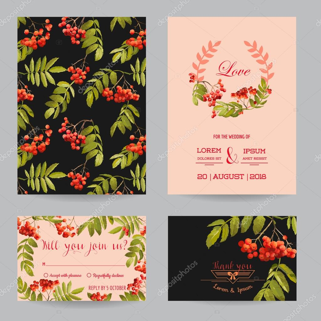 Save the date wedding invitation or congratulation card set ash save the date wedding invitation or congratulation card set ash berry autumn floral theme in vector vetor de woodhouse stopboris Images