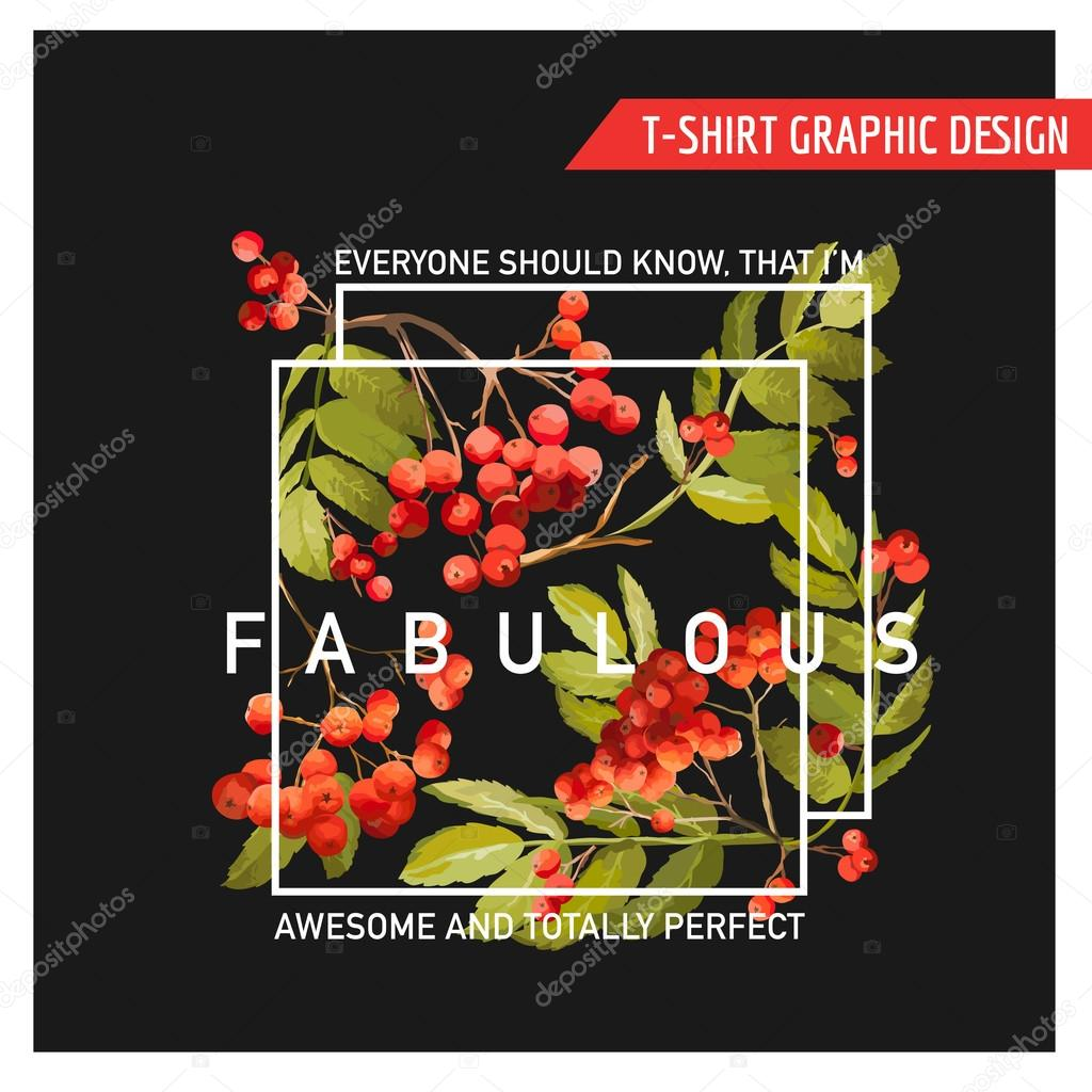 Autumn Floral Graphic Design - for T-shirt, Fashion, Prints - in Vector