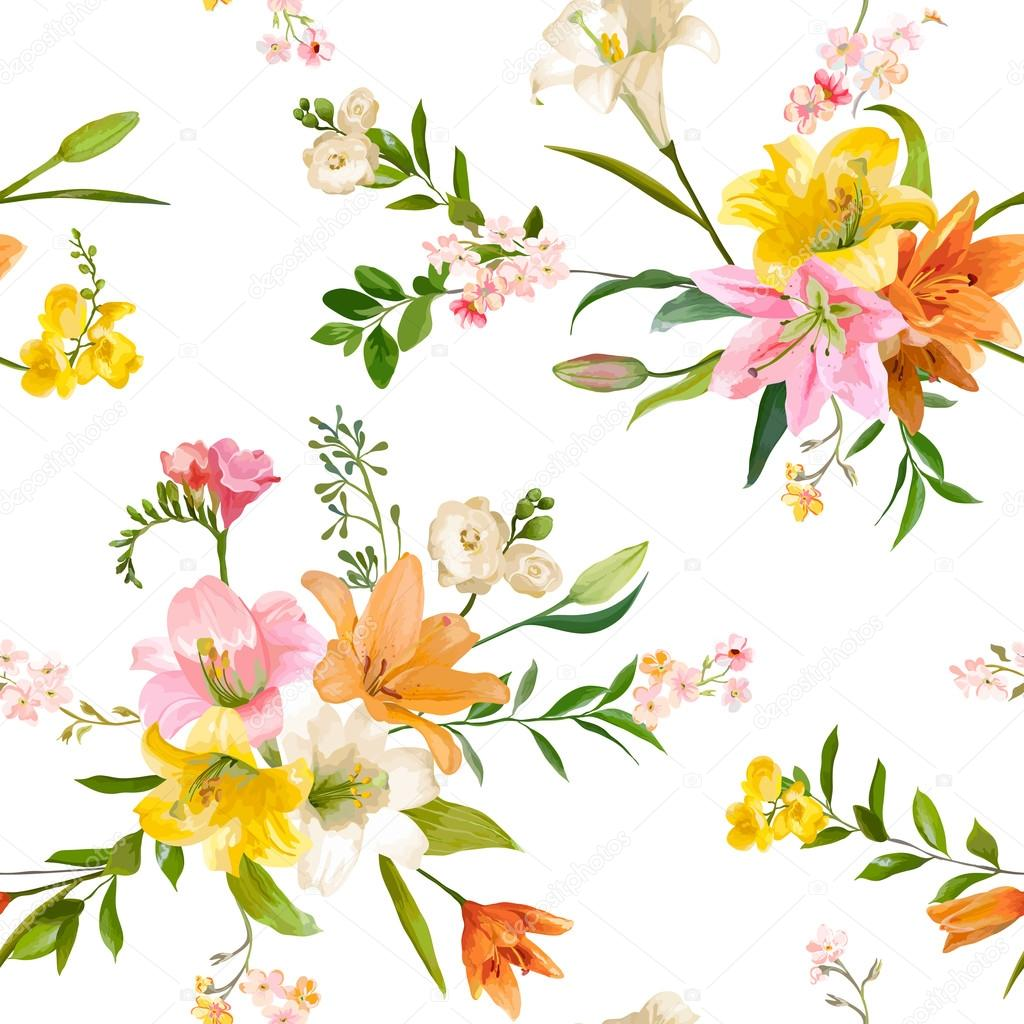 Vintage spring flowers backgrounds seamless floral lily pattern vintage spring flowers backgrounds seamless floral lily pattern in vector stock vector mightylinksfo