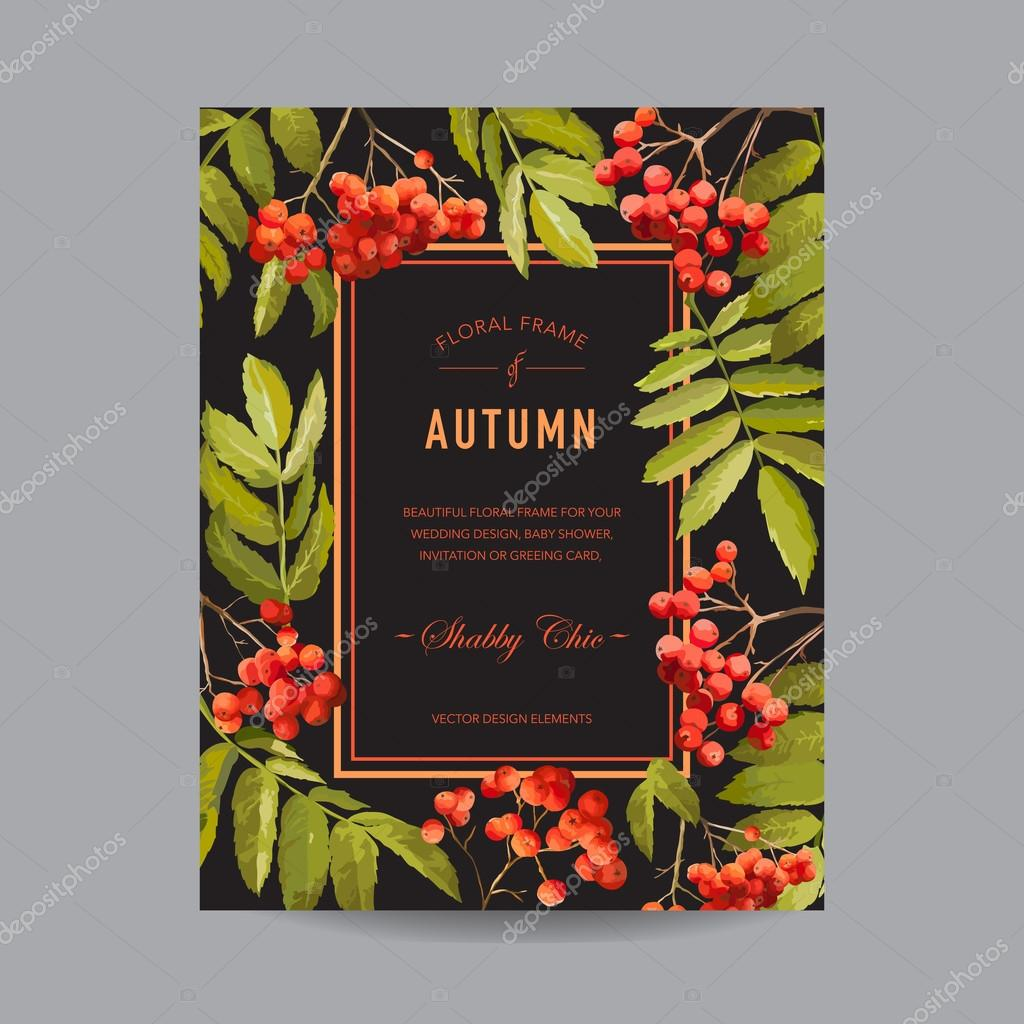 Vintage Floral Frame - Autumn Rowan Berries - for Invitation, Wedding, Baby Shower Card - in Vector