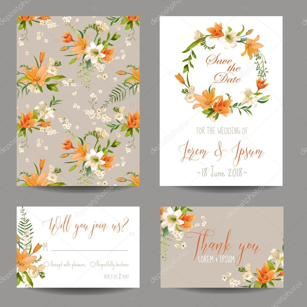 Speichern Sie Die Datum Karte Hochzeit Einladung Set Floralen
