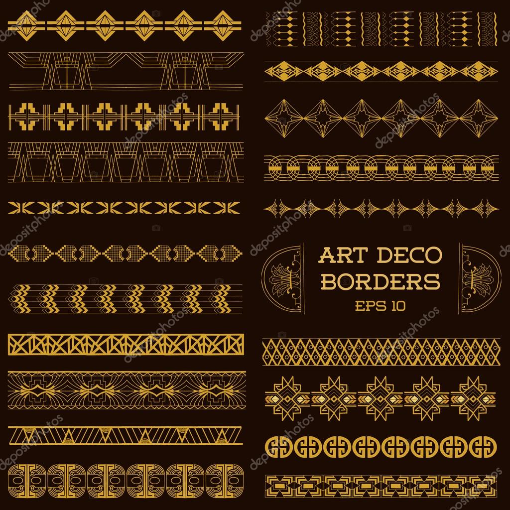 art deco vintage borders and design elements hand drawn stock vector woodhouse 52406361. Black Bedroom Furniture Sets. Home Design Ideas