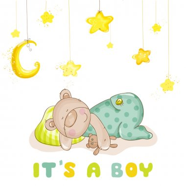 Baby Shower or Baby Arrival Cards - Sleeping Baby Bear and Stars