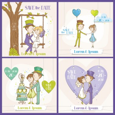 Save the Date Wedding Card Set - Bride and Groom Couple