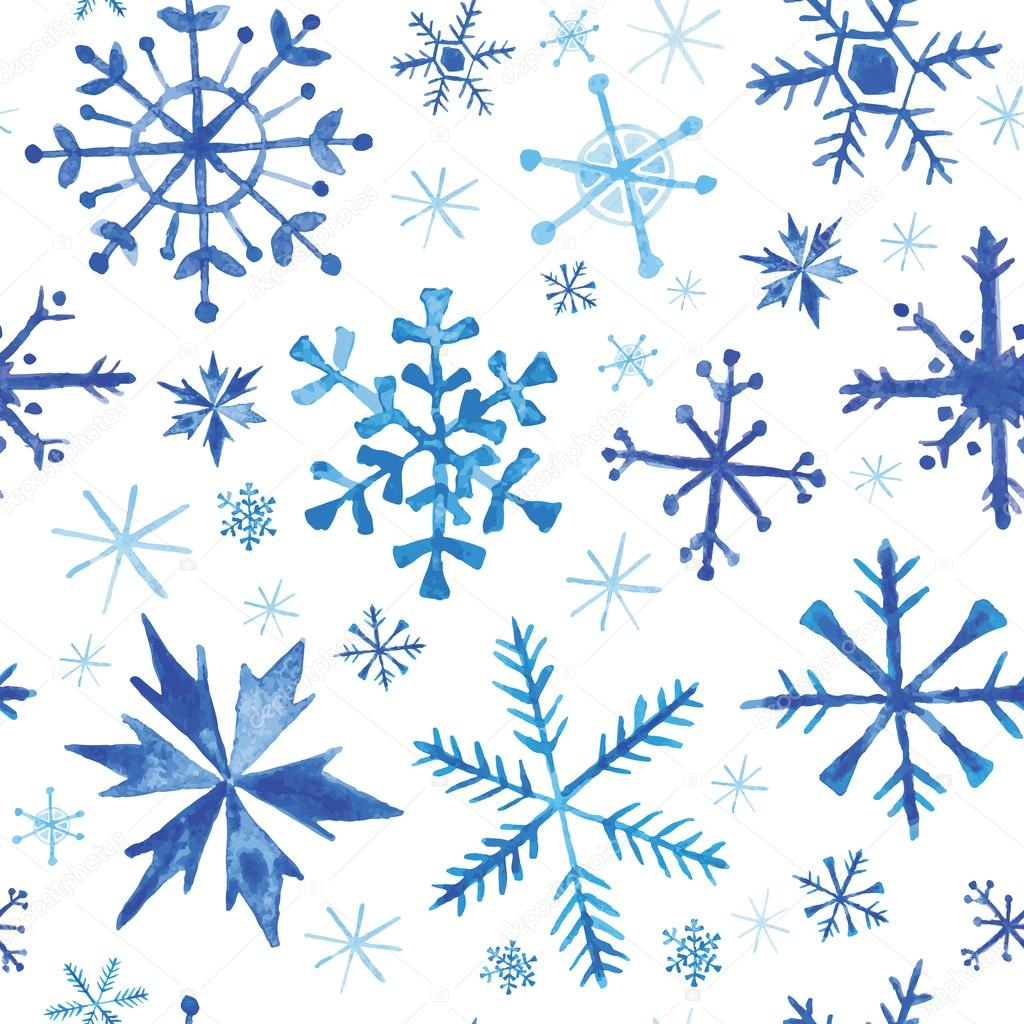 Seamless Winter Background - Snowflakes in Watercolor