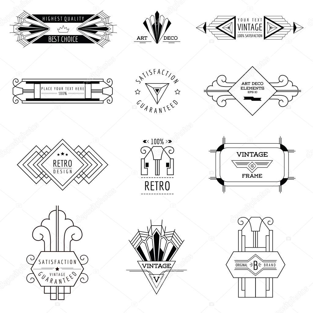 Art Deco Vintage Frames and Design Elements - in vector
