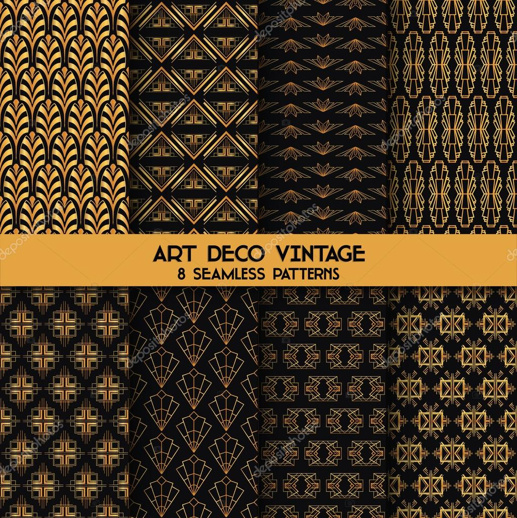 Art Deco Vintage Patterns - 8 Seanless Backgrounds - in vector