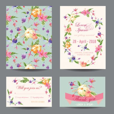 Invitation-Congratulation Card Set - for Wedding, Baby Shower