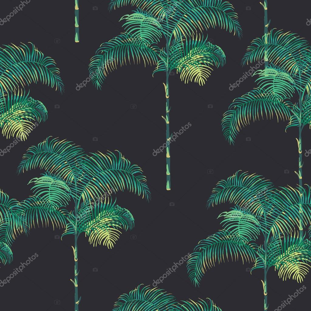 Tropical Palm Trees Background - Vintage Seamless Pattern