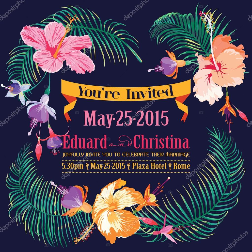 Wedding Invitation Card - with Floral Tropical Background