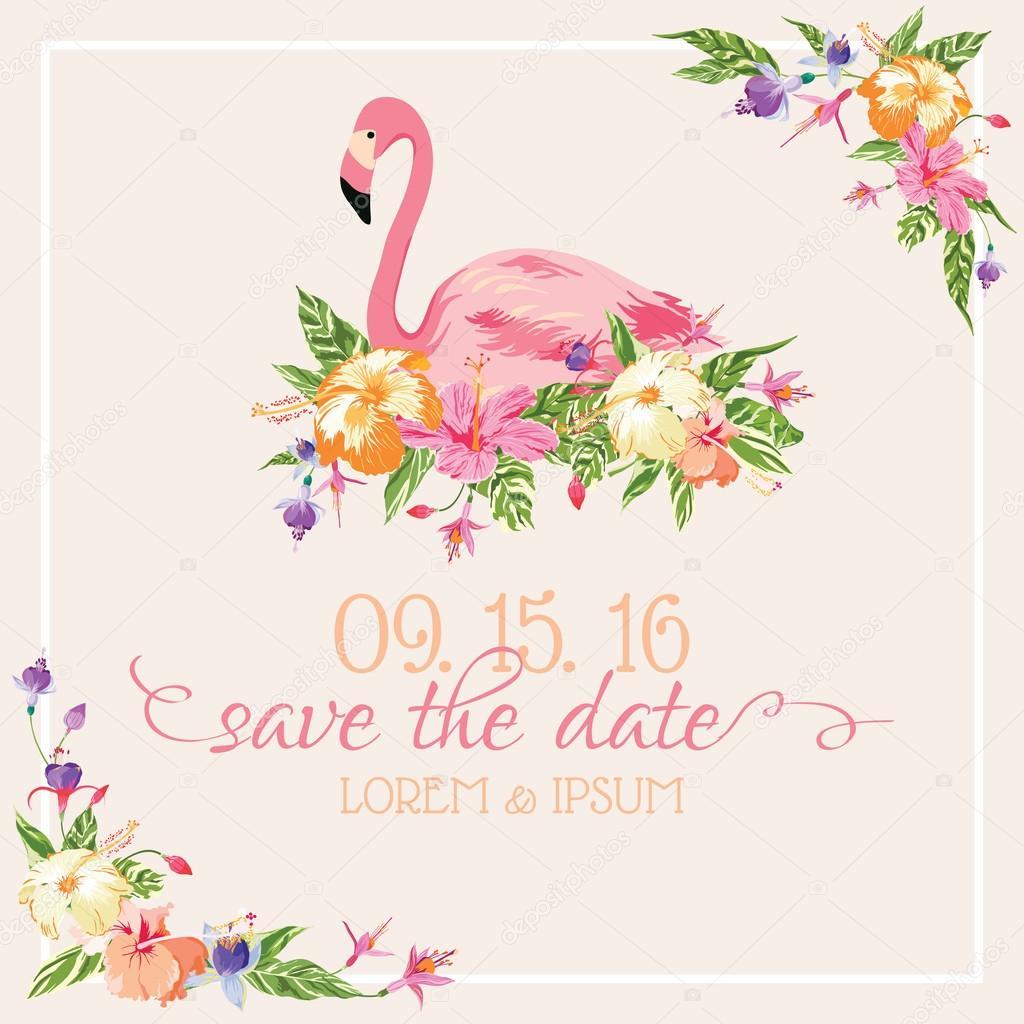 Cart 227 O De Convite Parab 233 Ns Tema Flamingo Vetor Vetor