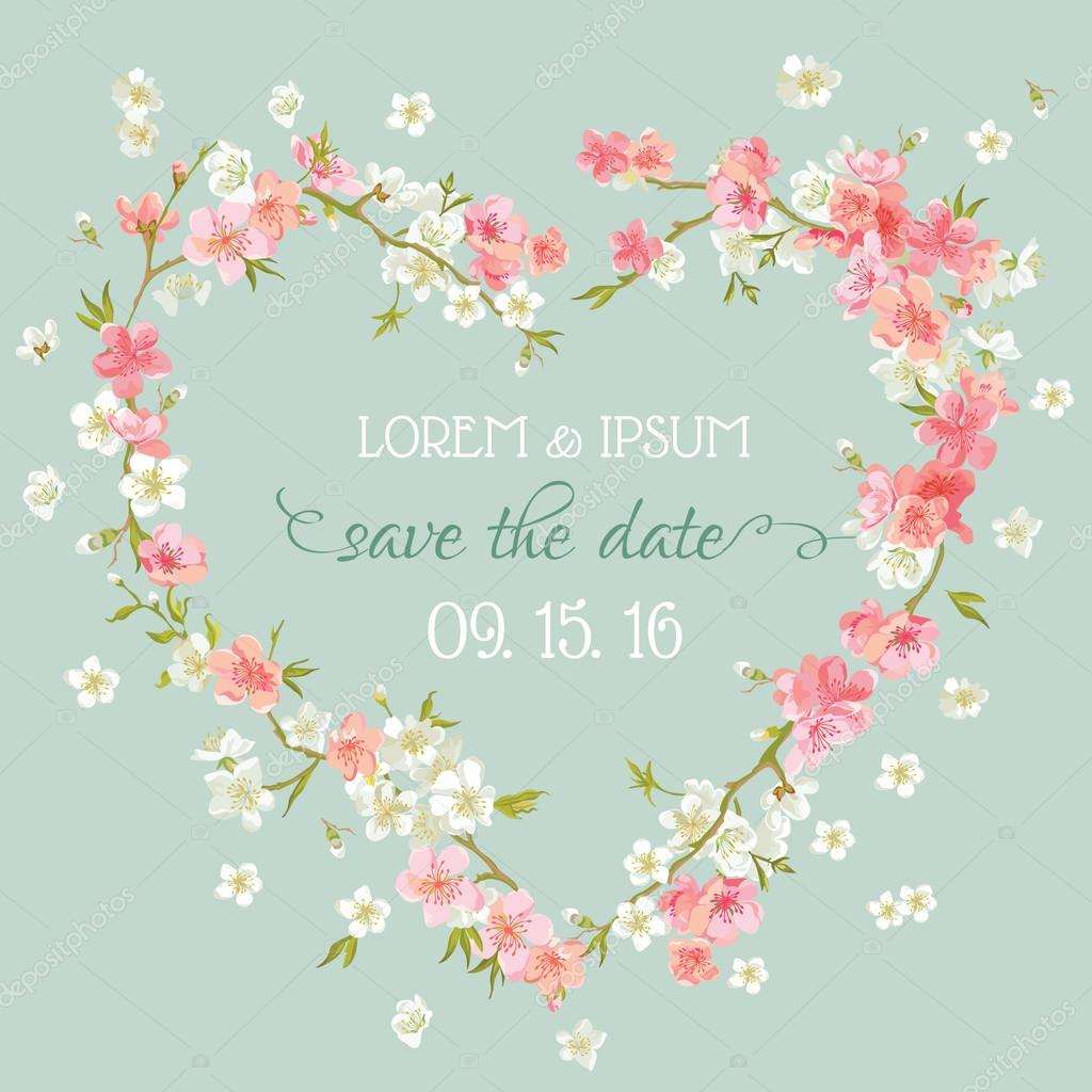 Wedding Invitation Card - Save the Date - Floral Retro Card