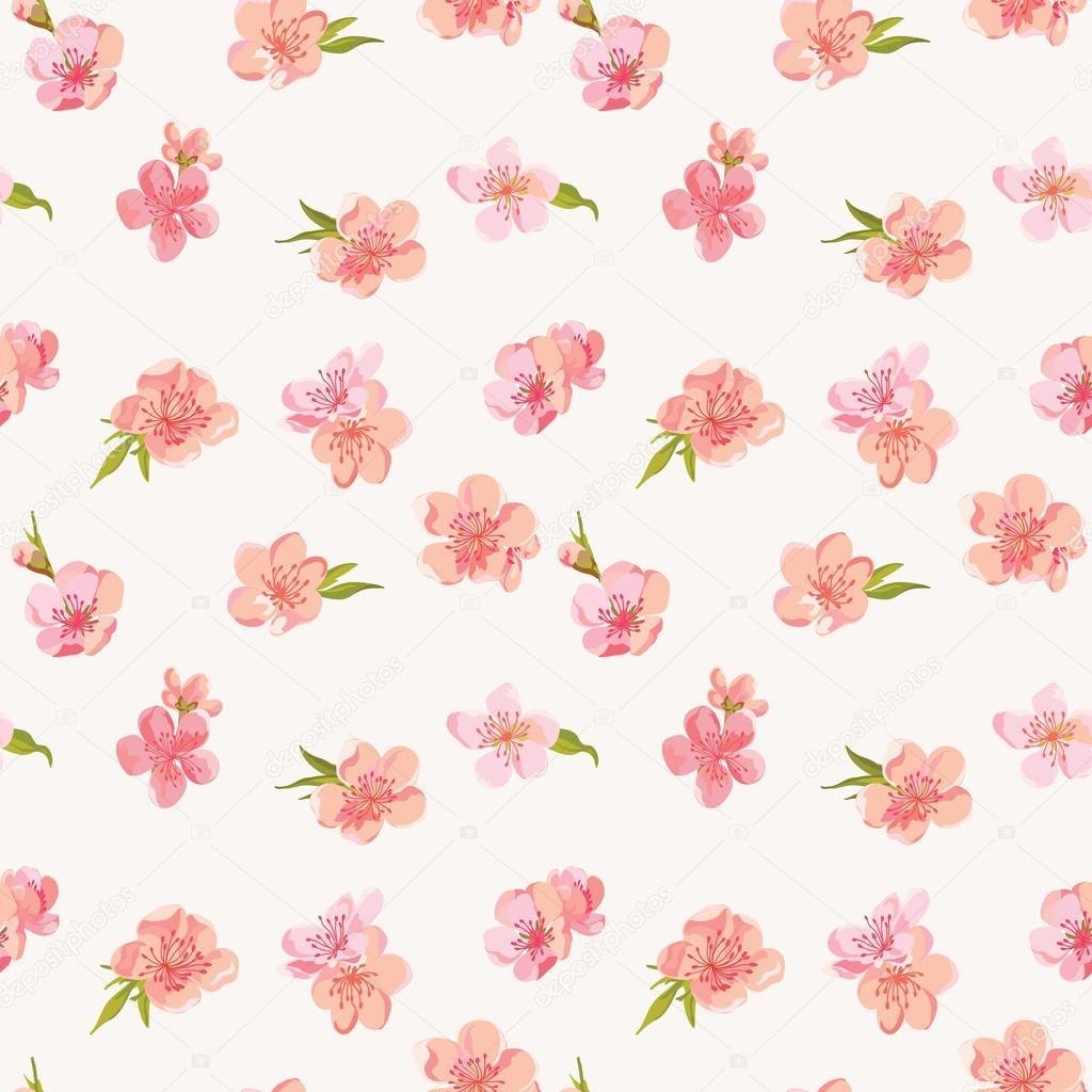 Depositphotos Stock Illustration Spring Blossom Flowers Background Papel Digital Unicornio