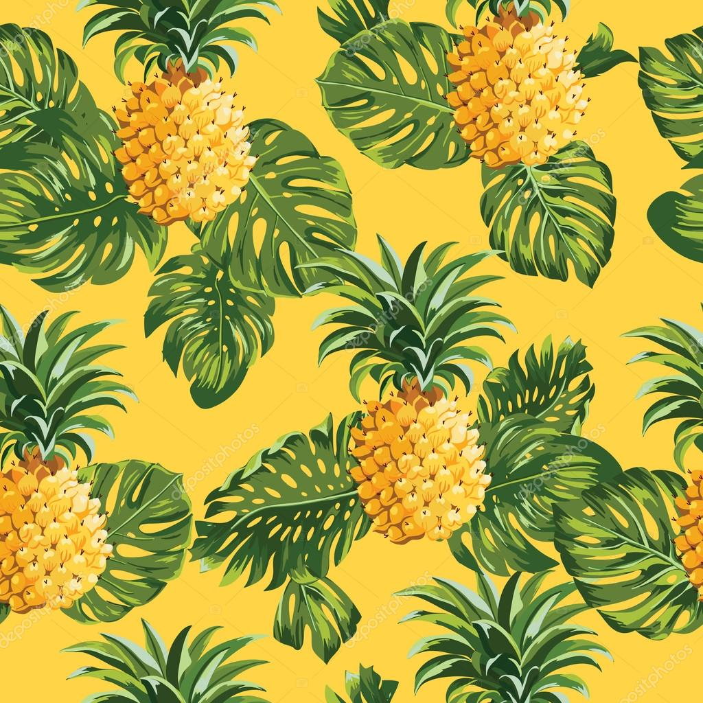 Pineapples and Tropical Leaves Background