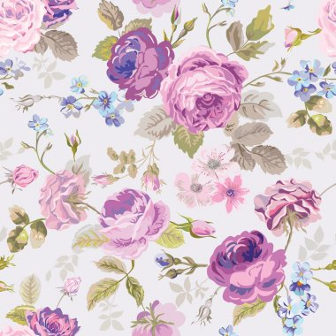 Spring Flowers Background - Seamless Floral Shabby Chic Pattern