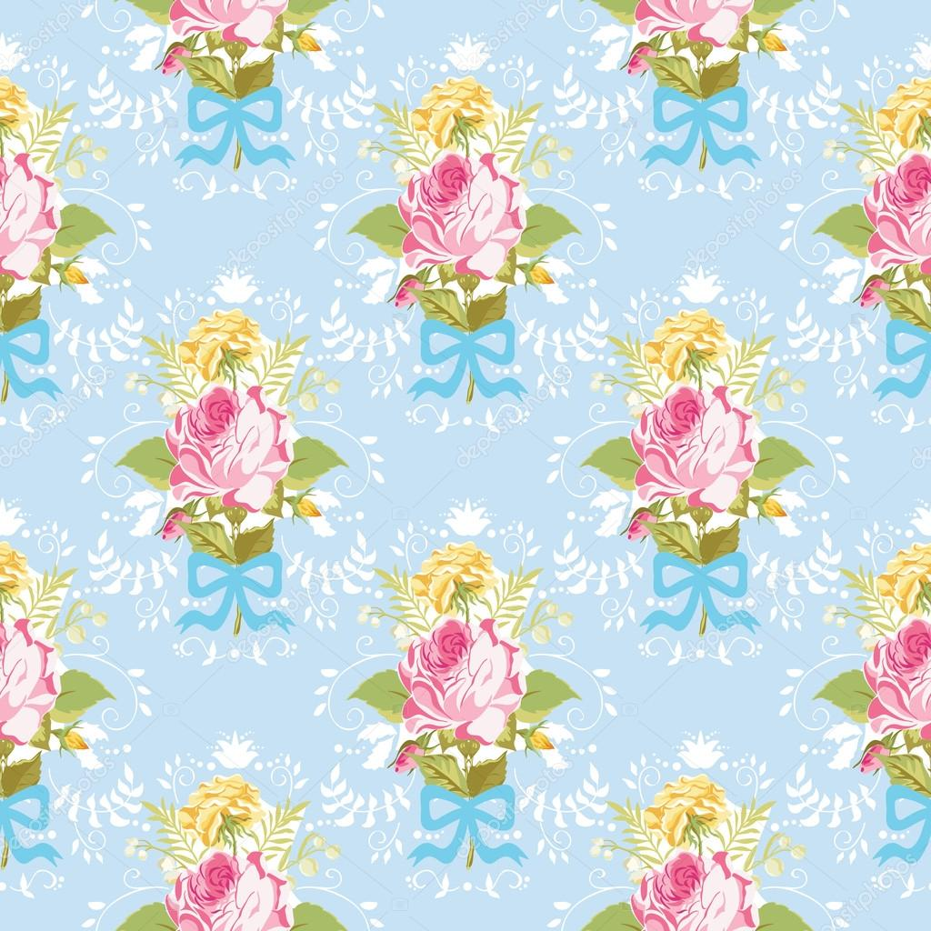 Seamless floral shabby chic background vintage roses - Deco vintage chic ...