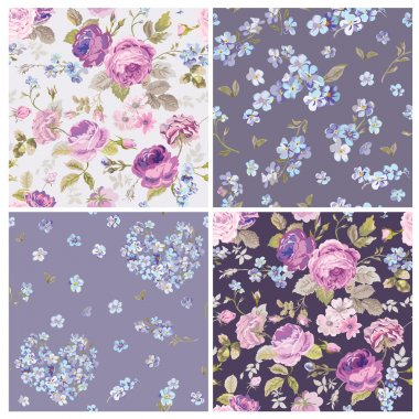 Set of Spring Flowers Backgrounds - Seamless Floral Shabby Chic Pattern