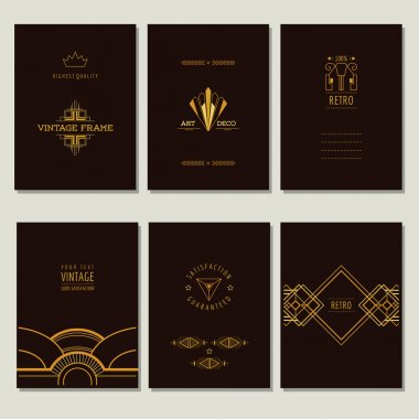 Set of Art Deco Cards and Vintage Frames - in vector